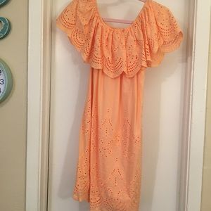 Peach altar'd state off the shoulder lace dress